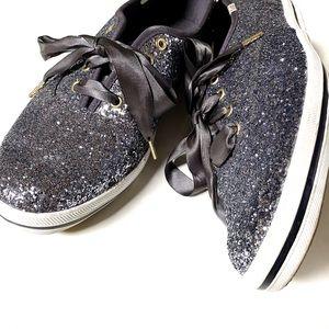 Kate Spade x Keds Charcoal Glitter Ribbon Sneakers